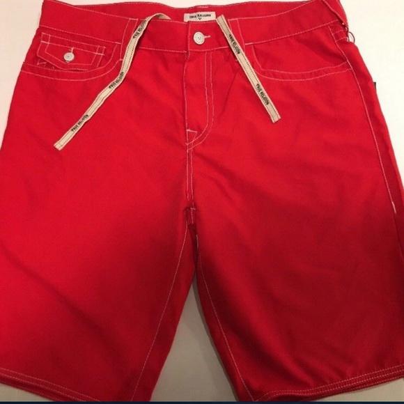 0143d86a1b True Religion Swim   Wear Mens Board Shorts Sz 36 Red   Poshmark